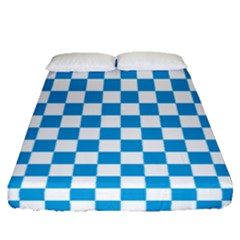 Oktoberfest Bavarian Large Blue And White Checkerboard Fitted Sheet (queen Size) by PodArtist