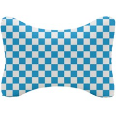 Oktoberfest Bavarian Large Blue And White Checkerboard Seat Head Rest Cushion by PodArtist