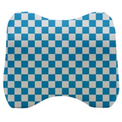 Oktoberfest Bavarian Large Blue And White Checkerboard Velour Head Support Cushion by PodArtist