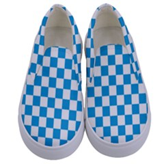 Oktoberfest Bavarian Large Blue And White Checkerboard Kids  Canvas Slip Ons