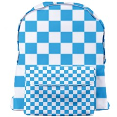 Oktoberfest Bavarian Large Blue And White Checkerboard Giant Full Print Backpack by PodArtist