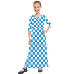 Oktoberfest Bavarian Large Blue And White Checkerboard Kids  Quarter Sleeve Maxi Dress