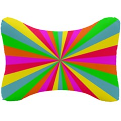 Neon Rainbow Mini Burst Seat Head Rest Cushion by PodArtist