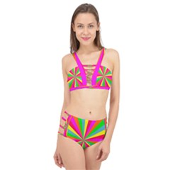 Neon Rainbow Mini Burst Cage Up Bikini Set