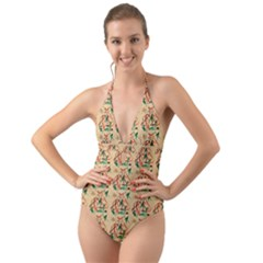 Fox Halter Cut Out One Piece Swimsuit