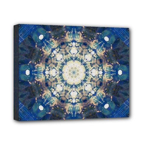 Painted Blue Mandala Flower On Canvas Canvas 10  X 8  (stretched) by pepitasart