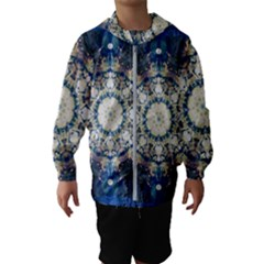Painted Blue Mandala Flower On Canvas Hooded Windbreaker (kids)