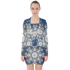 Painted Blue Mandala Flower On Canvas V Neck Bodycon Long Sleeve Dress