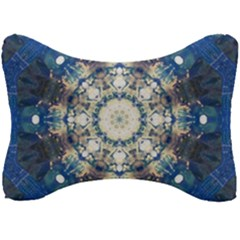 Painted Blue Mandala Flower On Canvas Seat Head Rest Cushion