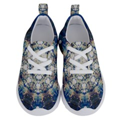Painted Blue Mandala Flower On Canvas Running Shoes by pepitasart