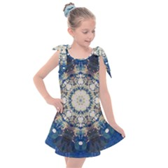 Painted Blue Mandala Flower On Canvas Kids  Tie Up Tunic Dress by pepitasart