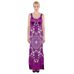 Wonderful Star Flower Painted On Canvas Maxi Thigh Split Dress by pepitasart