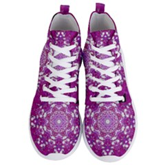Wonderful Star Flower Painted On Canvas Men s Lightweight High Top Sneakers by pepitasart