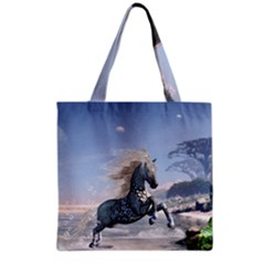 Wonderful Wild Fantasy Horse On The Beach Grocery Tote Bag by FantasyWorld7
