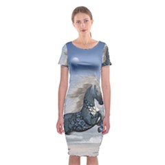 Wonderful Wild Fantasy Horse On The Beach Classic Short Sleeve Midi Dress