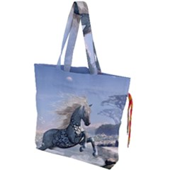 Wonderful Wild Fantasy Horse On The Beach Drawstring Tote Bag by FantasyWorld7