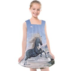 Wonderful Wild Fantasy Horse On The Beach Kids  Cross Back Dress by FantasyWorld7