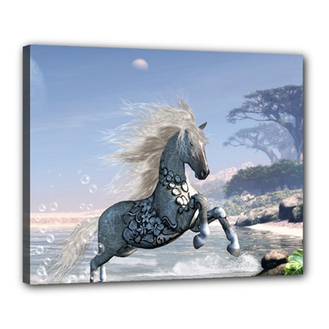 Wonderful Wild Fantasy Horse On The Beach Canvas 20  X 16  (stretched) by FantasyWorld7