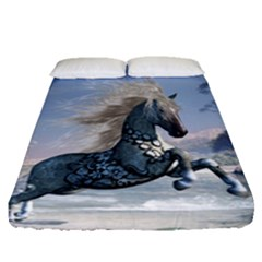 Wonderful Wild Fantasy Horse On The Beach Fitted Sheet (queen Size)