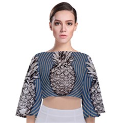 Pop Art  Pineapple  Tie Back Butterfly Sleeve Chiffon Top