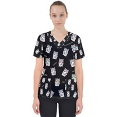 Llama Pattern Women s V Neck Scrub Top