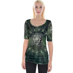 Awesome Creepy Mechanical Skull Wide Neckline Tee