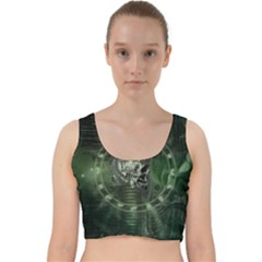 Awesome Creepy Mechanical Skull Velvet Racer Back Crop Top