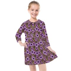 The Sky Is Not The Limit For A Floral Delight Kids  Quarter Sleeve Shirt Dress by pepitasart