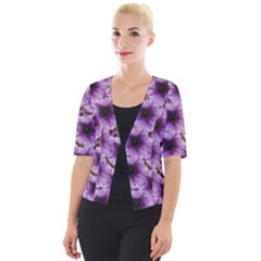 The Sky Is Not The Limit For Beautiful Big Flowers Cropped Button Cardigan by pepitasart