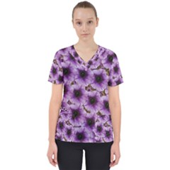 The Sky Is Not The Limit For Beautiful Big Flowers Women s V Neck Scrub Top