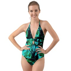 Hot Day In Dallas 50 Halter Cut Out One Piece Swimsuit