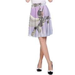 Cute Little Pegasus In The Sky, Cartoon A Line Skirt by FantasyWorld7