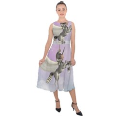 Cute Little Pegasus In The Sky, Cartoon Midi Tie Back Chiffon Dress