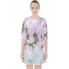 Cute Little Pegasus In The Sky, Cartoon Pocket Dress by FantasyWorld7