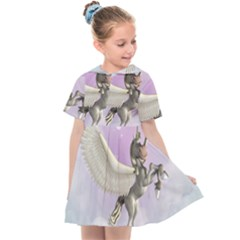 Cute Little Pegasus In The Sky, Cartoon Kids  Sailor Dress