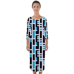 Linear Sequence Pattern Design Quarter Sleeve Midi Bodycon Dress by dflcprintsclothing
