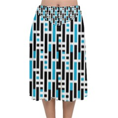 Linear Sequence Pattern Design Velvet Flared Midi Skirt by dflcprintsclothing