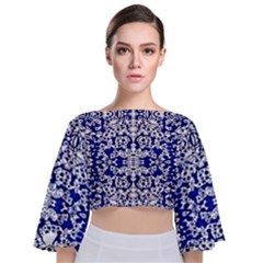 Red The Print Tie Back Butterfly Sleeve Chiffon Top