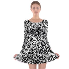 Maze Draw Long Sleeve Skater Dress