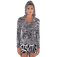 Maze Draw Long Sleeve Hooded T Shirt