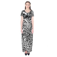 Maze Draw Short Sleeve Maxi Dress