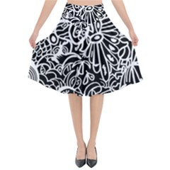 Maze Draw Flared Midi Skirt