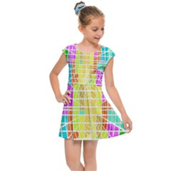 Abstract Squares Background Network Kids Cap Sleeve Dress