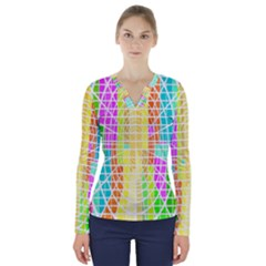 Abstract Squares Background Network V Neck Long Sleeve Top