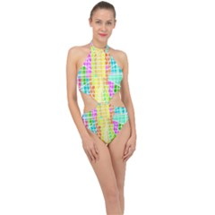 Abstract Squares Background Network Halter Side Cut Swimsuit by Sapixe
