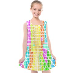 Abstract Squares Background Network Kids  Cross Back Dress