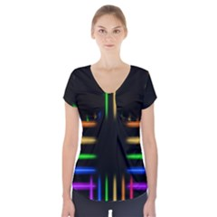 Neon Light Abstract Pattern Lines Short Sleeve Front Detail Top