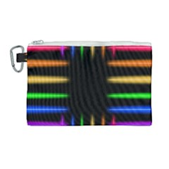 Neon Light Abstract Pattern Lines Canvas Cosmetic Bag (large)