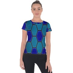 Hexagon Background Geometric Mosaic Short Sleeve Sports Top