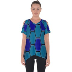 Hexagon Background Geometric Mosaic Cut Out Side Drop Tee by Sapixe